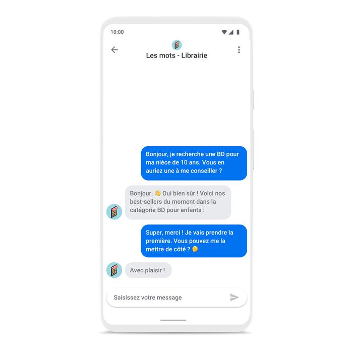 Google business messages exemple conversation