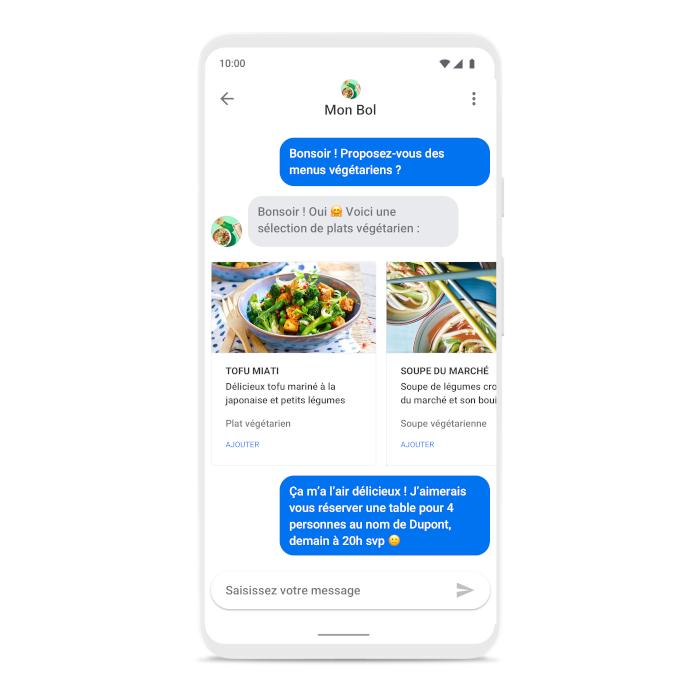 exemple de discussion Google business messages restaurant