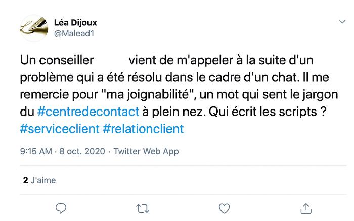 tweet d'un avis sur le service client