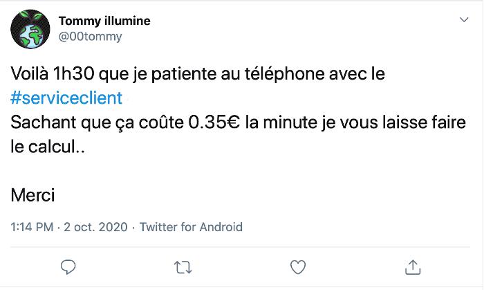 service client tweet en colère