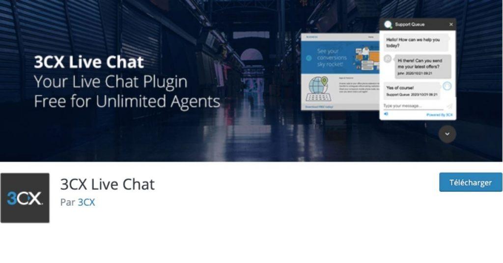 Image de l'interface WordPress du plugin Live Chat 3CX