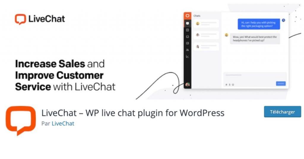 Page du plugin wordpress LiveChat