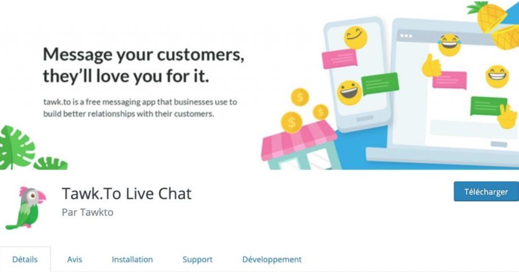Tawk.to Live Chat, le plugin WordPress.