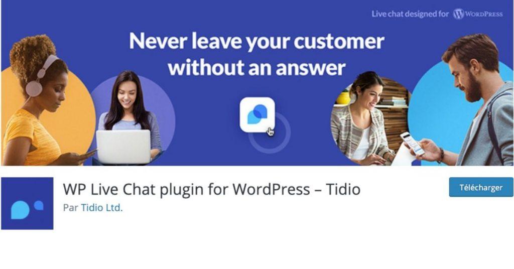 Interface WordPress du plugin de Live Chat Tidio