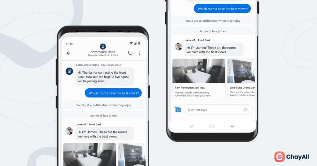 Proposition de chambres d'hôtel sur Google's Business Messages